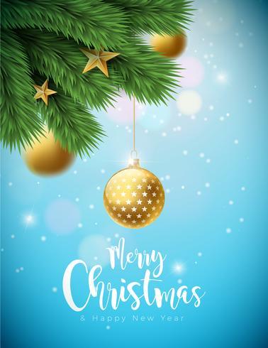 Joyeux Noël Illustration avec boules ornementales et branche de pin vecteur