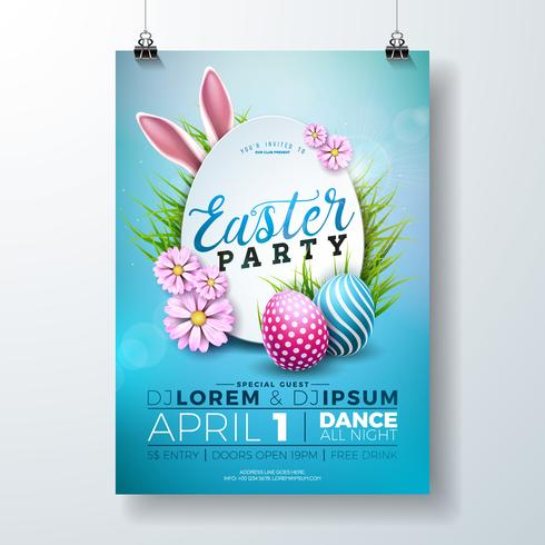 Vector Easter Party Flyer Illustration avec des oeufs peints, des oreilles de lapin et des éléments de typographie sur fond bleu de la nature. Modèle de conception affiche printemps vacances fête.