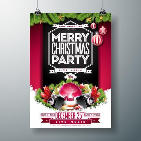Illustration de flyer de fête de Noël avec ornements et guirlandes vecteur