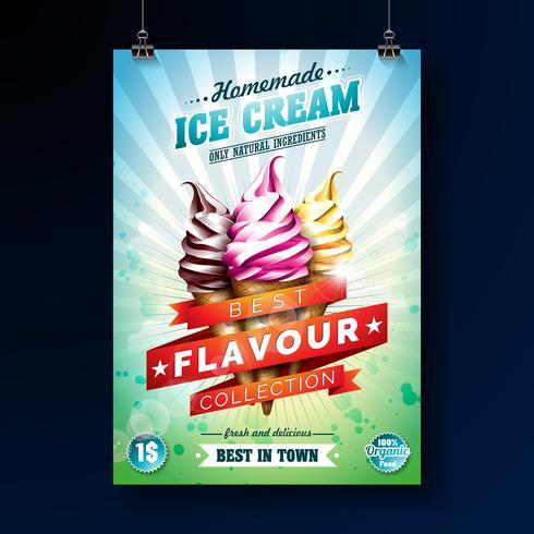 Conception d'affiche de crème glacée avec un dessert délicieux et un ruban étiqueté vecteur