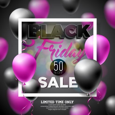 Black Friday Vente Vector Illustration avec des ballons brillants