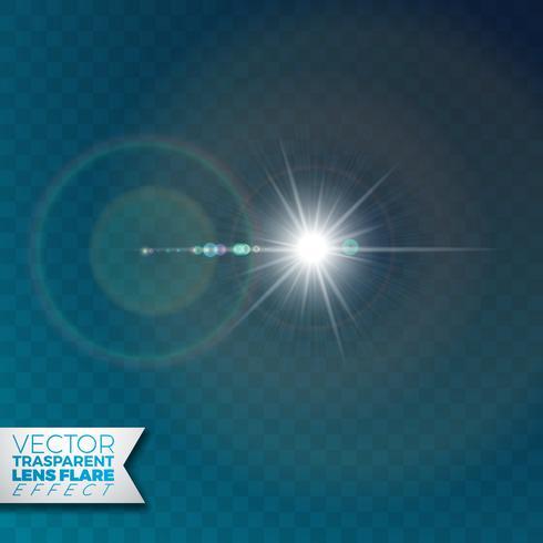 Effet de lumière flare vecteur réaliste sur fond transparent.