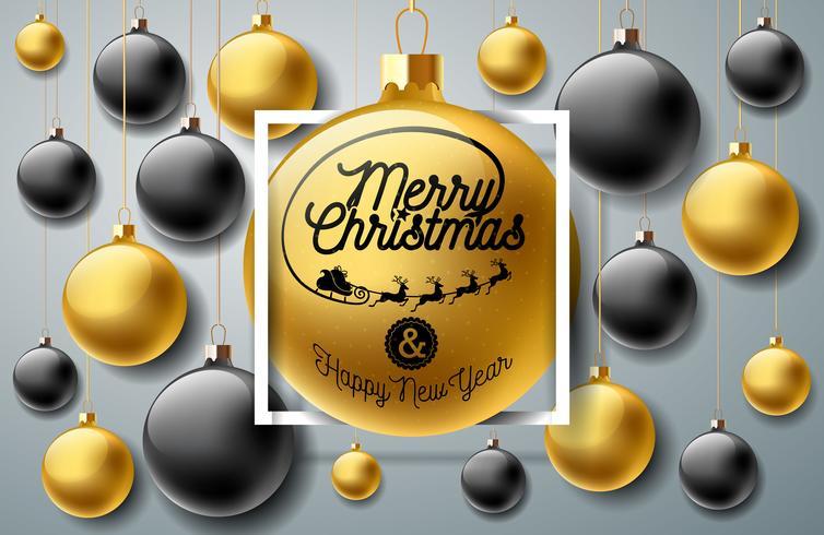 Joyeux Noël Illustration avec des ornements en arrière-plan vecteur