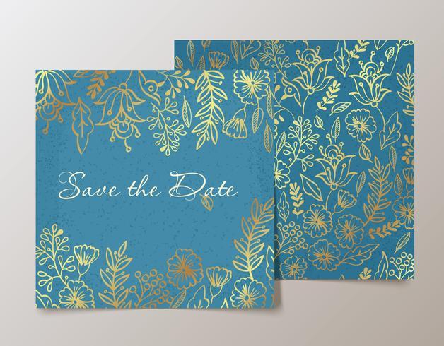 Carte à la mode avec des fleurs pour les mariages, enregistrez l'invitation de date. vecteur