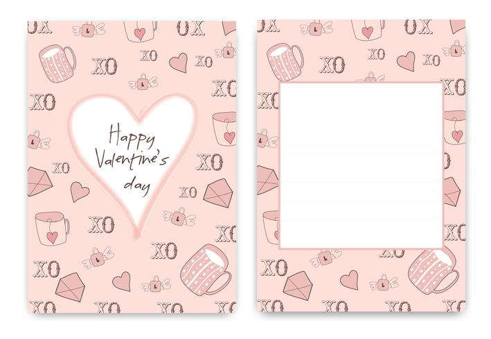 Collection de carte de Saint Valentin de couleur rose blanche vecteur
