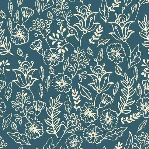Vintage motif floral sans soudure vecteur