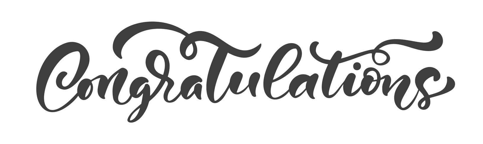 """Calligraphie dessiné à la main lettrage texte isolé """"Félicitations"""" vecteur"""