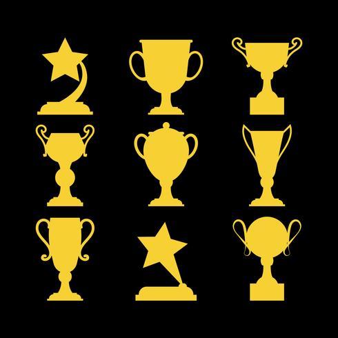 Champions gagnants des icônes. vecteur
