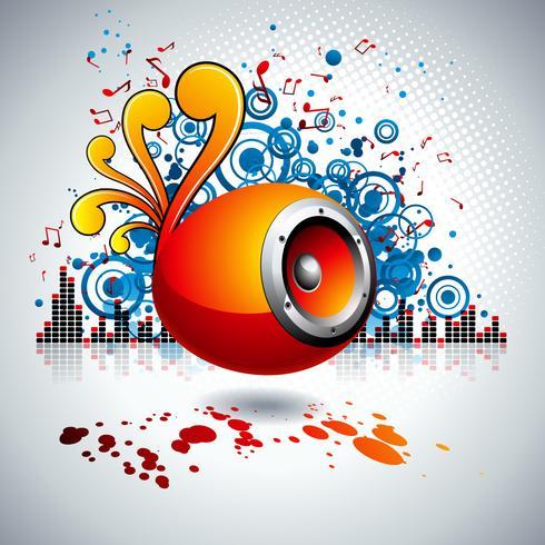illustration vectorielle pour un thème musical avec haut-parleurs et boule disco vecteur