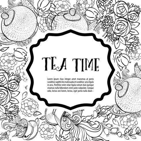 Temps de boire du thé. La carte de mode monochrome carrée vecteur