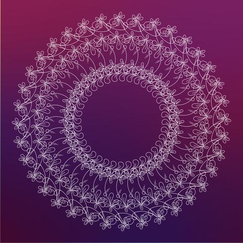 Cadre rond, bordure de fleurs vecteur