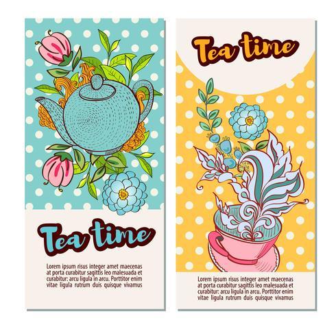 Ensemble de modèles de bannière de conception heure du thé vecteur