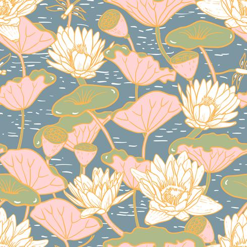 Nymphéas élégants, motif floral sans soudure Nymphaea vecteur