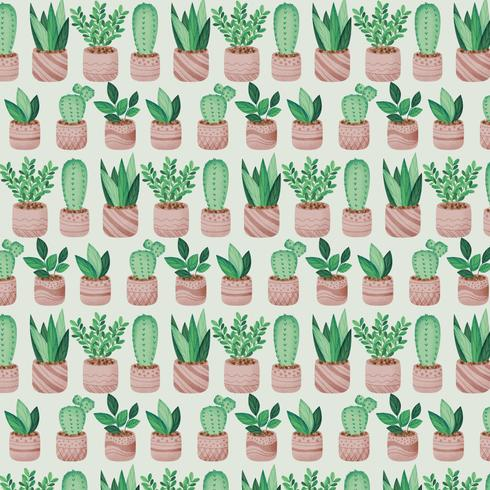 Modèle sans couture de plantes en pot de vecteur