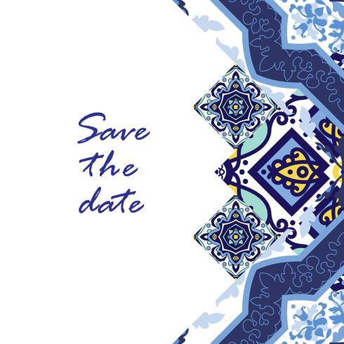 Azulejos de bannière dans le style de carreaux portugais pour les entreprises. vecteur