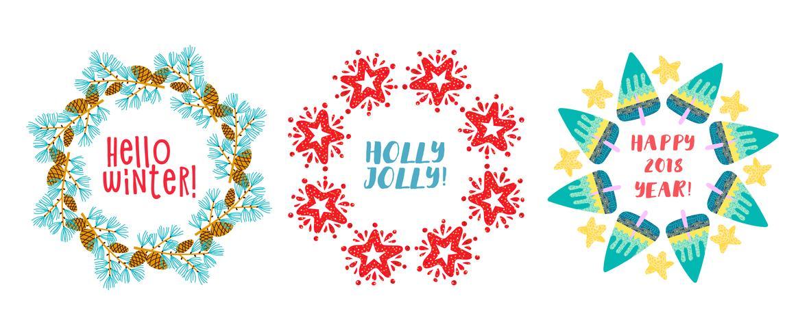 Guirlande de Noël Branches de pin, étoile décorée. vecteur