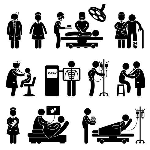 Médecin Infirmière Hôpital Clinique Patient Chirurgie Médicale. vecteur