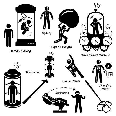 Futur lointain de la technologie humaine Science Fiction Stick Figure Pictogram Icon Cliparts. vecteur