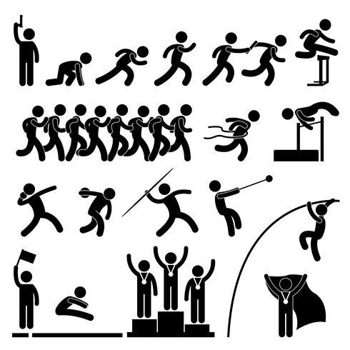 Champ de sport et de piste Jeu Événement sportif Gagnant Icône Icône célébration vecteur