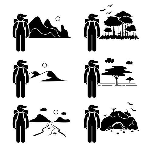 Explorateur aventure à la forêt tropicale de montagne désert savane rivière grotte stick figure pictogramme icône. vecteur
