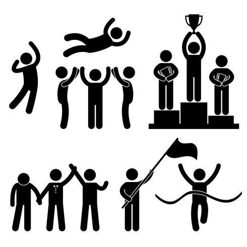 Gagnant Gagnant Perdant Glory Champion De Célébration Succès Victoire. vecteur