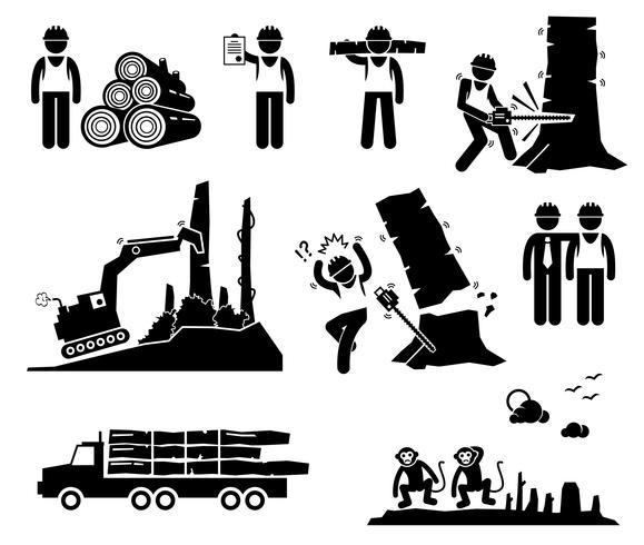 Déforestation des icônes de pictogramme de bonhomme allumette travailleur forestier exploitation forestière. vecteur