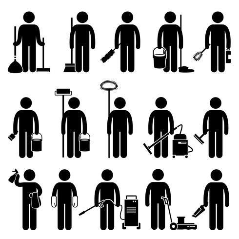 Homme de ménage avec outils et équipements de nettoyage, icônes de pictogramme de bonhomme allumette. vecteur