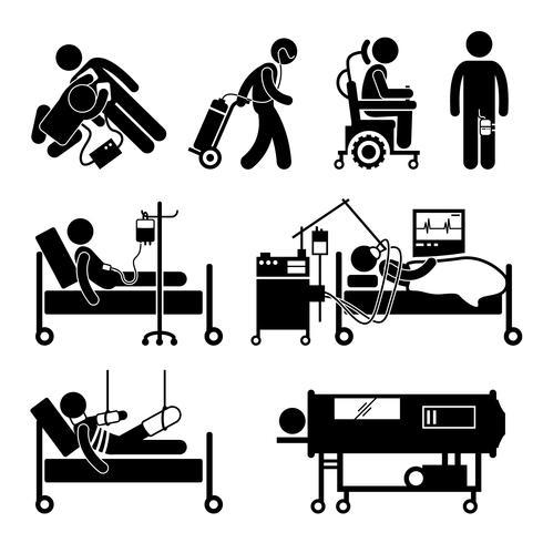 Équipements de maintien de la vie icônes de pictogramme de bonhomme allumette. vecteur