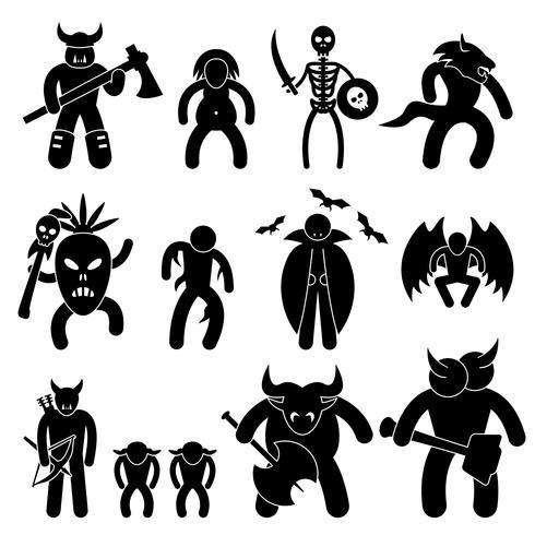 Ancien personnage de guerrier pour pictogramme de signe de symbole de la mauvaise ligue icône vecteur