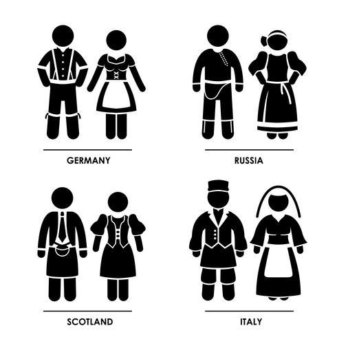 Europe Vêtements traditionnels vecteur