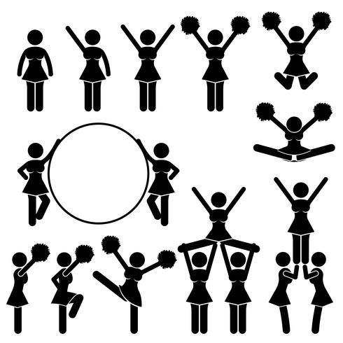 Équipe de supporters pom-pom girl de pictogramme de signe symbole icône école université université. vecteur
