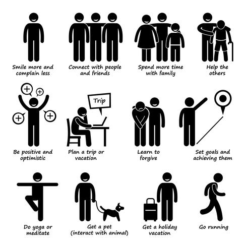 Comment être une personne plus heureuse icônes de pictogramme de bonhomme allumette. vecteur