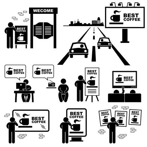 Panneau de publicité Conseil Marketing Icône de pictogramme de bonhomme allumette. vecteur