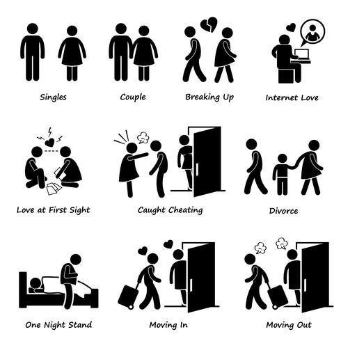 Couple copain copine amour stick figure pictogramme icône Cliparts. vecteur