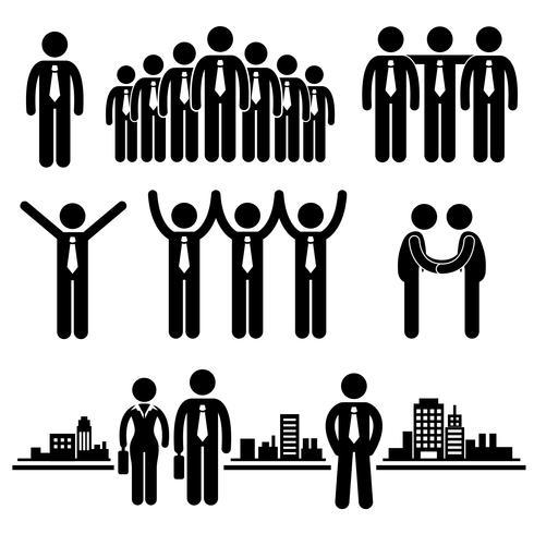 Icône de pictogramme de bonhomme allumette affaires homme d'affaires groupe. vecteur