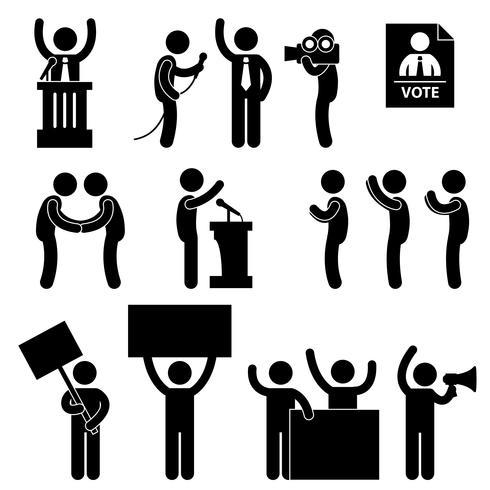 Vote électoral du journaliste politicien. vecteur