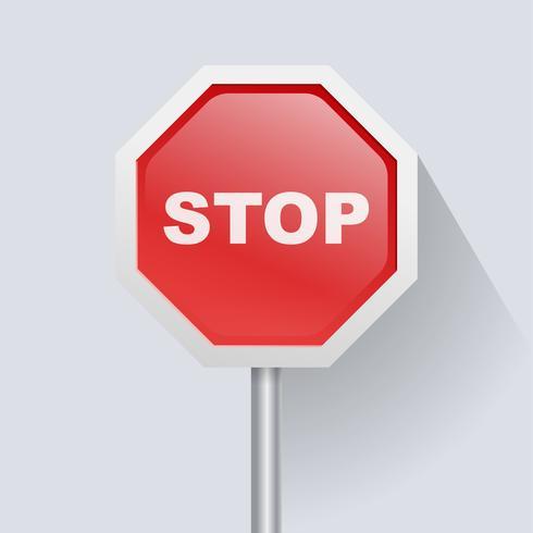Panneau de signalisation rouge avec icône Arrêter le texte vecteur