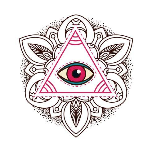 Symbole de pyramide oculaire qui voit tout. vecteur