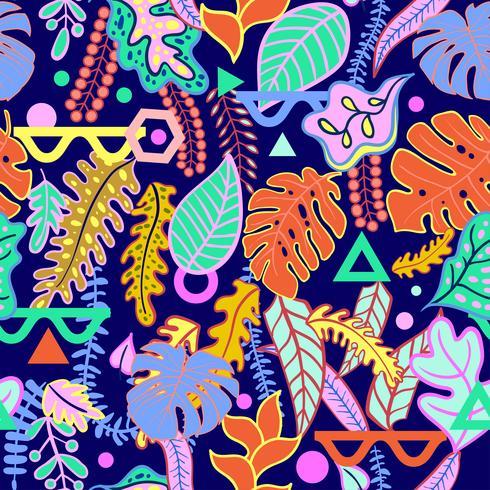 Modèle sans couture de tropical tropical vibrant feuilles. vecteur