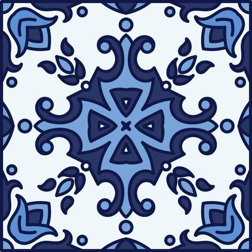 Carreaux d'azulejo portugais. Patte sans couture magnifique bleu et blanc vecteur