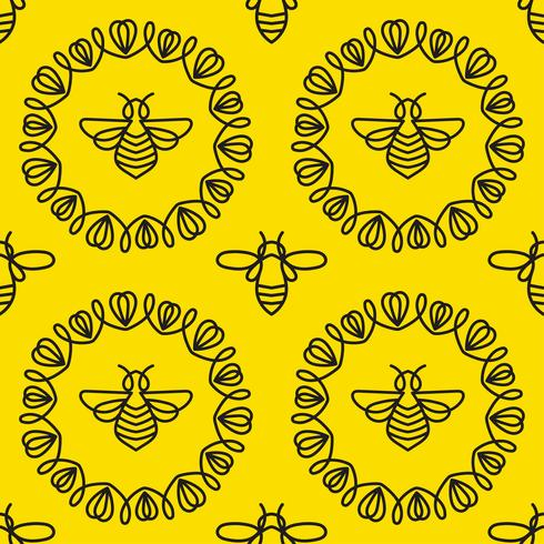 Modèle sans couture avec abeille vecteur