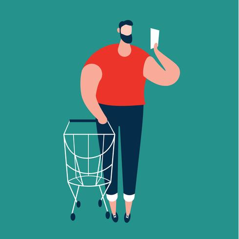 Homme vérifiant la liste de courses et transportant le caddie au supermarché. vecteur