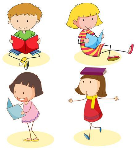 Livre de lecture garçon et filles vecteur
