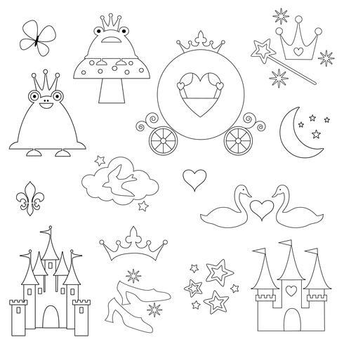 timbres numériques princesse contour noir vecteur