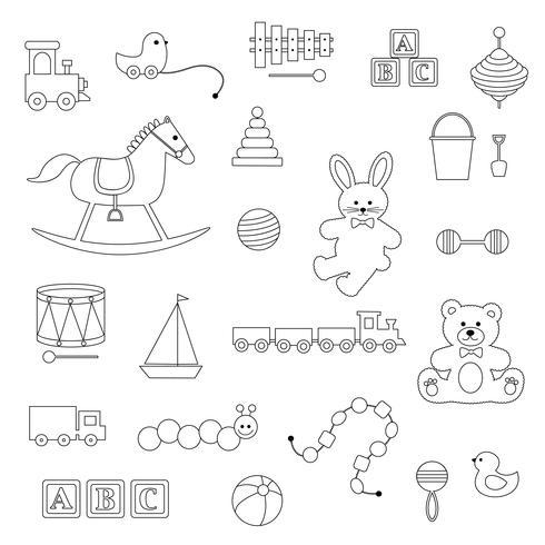 contours noirs bébé jouets timbres numériques vecteur