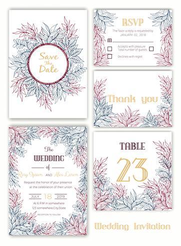 Invitation de mariage, faites gagner la date, carte de RSVP, carte de remerciement vecteur