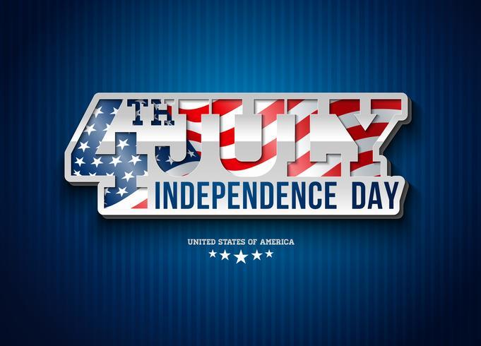 Jour de l'indépendance des usa Vector Illustration avec indicateur en lettrage de typographie 3d. Design du 4 juillet