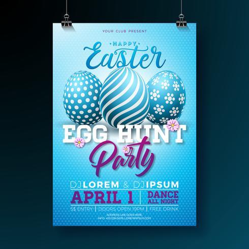 Vector Illustration de flyer fête de Pâques avec des oeufs peints et des éléments de typographie sur fond bleu. Modèle de conception affiche printemps vacances fête.