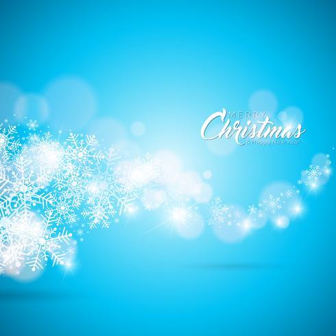 Joyeux Noël et bonne année Illustration sur avec la typographie sur fond de flocons de neige. Conception de vecteur EPS 10.