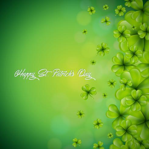 Conception de fond Saint Patricks Day avec fond de feuille de trèfles qui tombent. Illustration vectorielle de vacances irlandaise pour carte de voeux, invitation de fête ou bannière promotionnelle. vecteur
